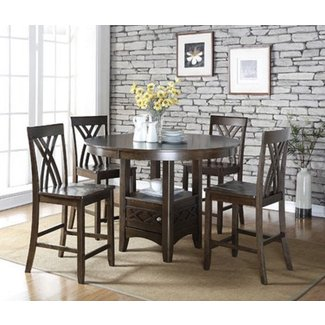 Dark Espresso 5-Piece Counter Height Dining Table Set