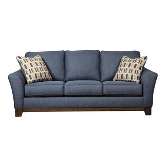 Dark Walnut Finish Sofa With Throw Pillows