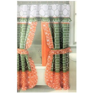 Double Swag Shower Curtain With Coordinated Ring Hooks