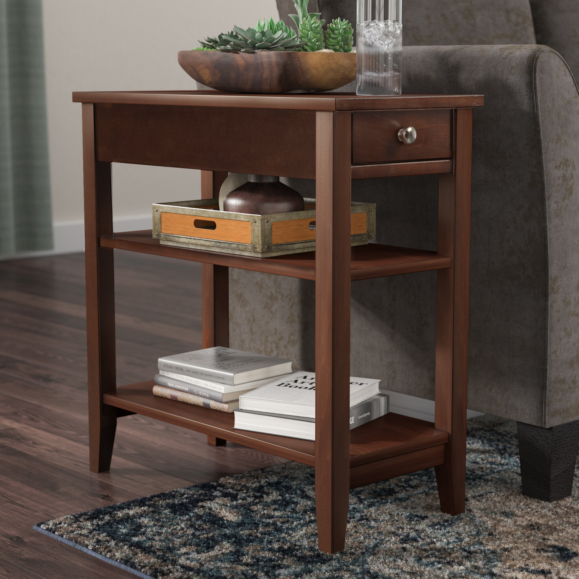 End Table with Birch Veneer and Storage & Narrow End Tables - Foter