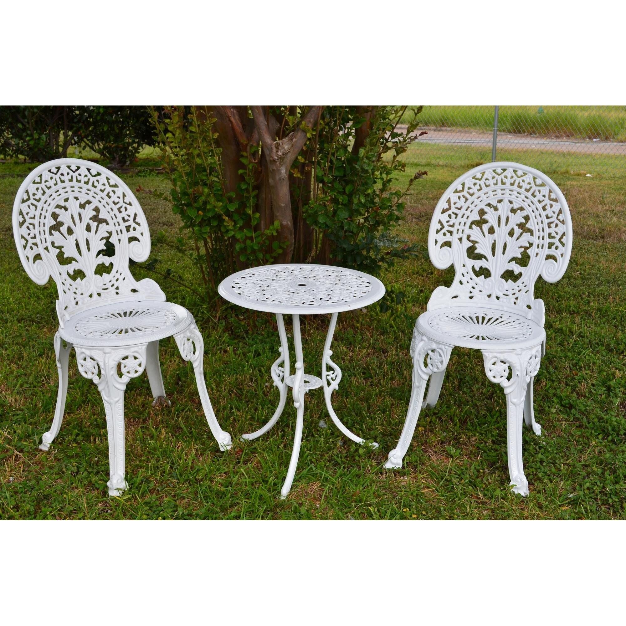 Bistro Table garden Patio Furniture Home Indoor Side Granite Waterproof Black