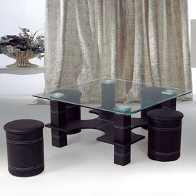 Faux Leather And Glass Coffee Table With Nested Stools