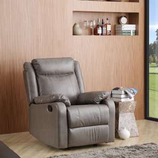 Faux Leather Manual Rocker Recliner