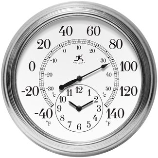 Galvanized Steel and Plastic Indoor/Outdoor Thermometer