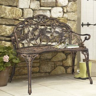 Garden Patio Bench with Steel Frame