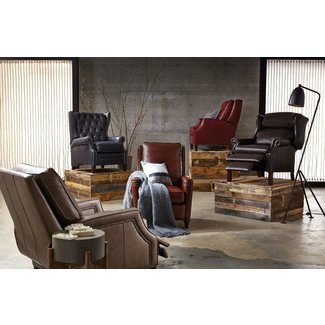 Genuine Leather Manual Club Recliner