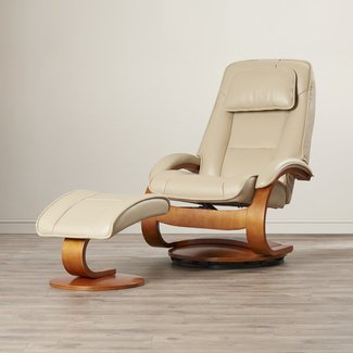 Genuine Leather Manual Swivel Recliner With Embedded Ottoman