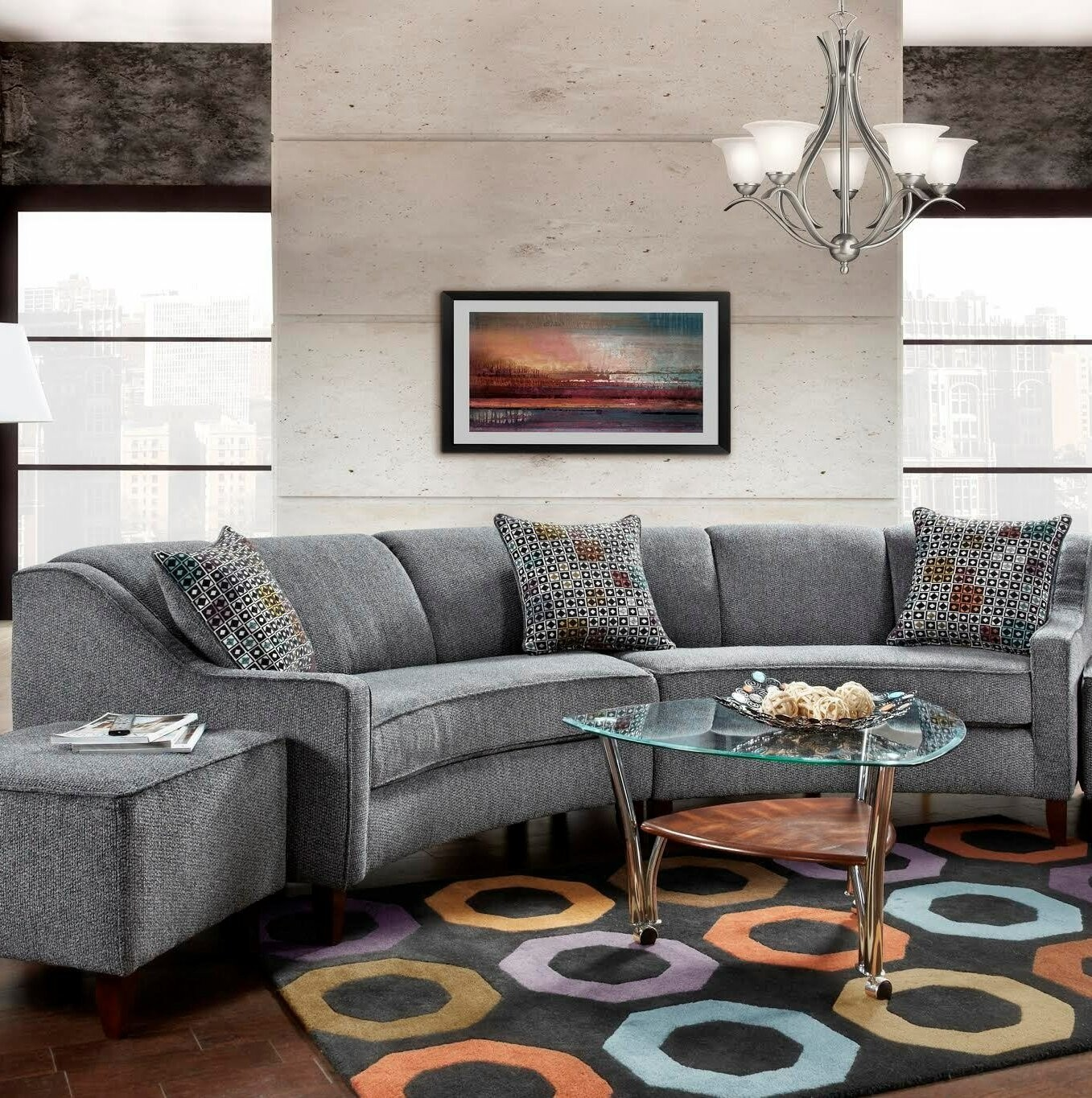 Beau Gray Curved Living Room Set