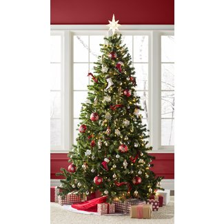 Green Spruce Artificial Christmas Tree with White Lights