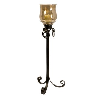 Hammered Glass Wrought Hurricane Candle Holder