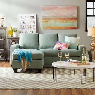 Hardwood Reversible Sectional Sofa With Ottoman