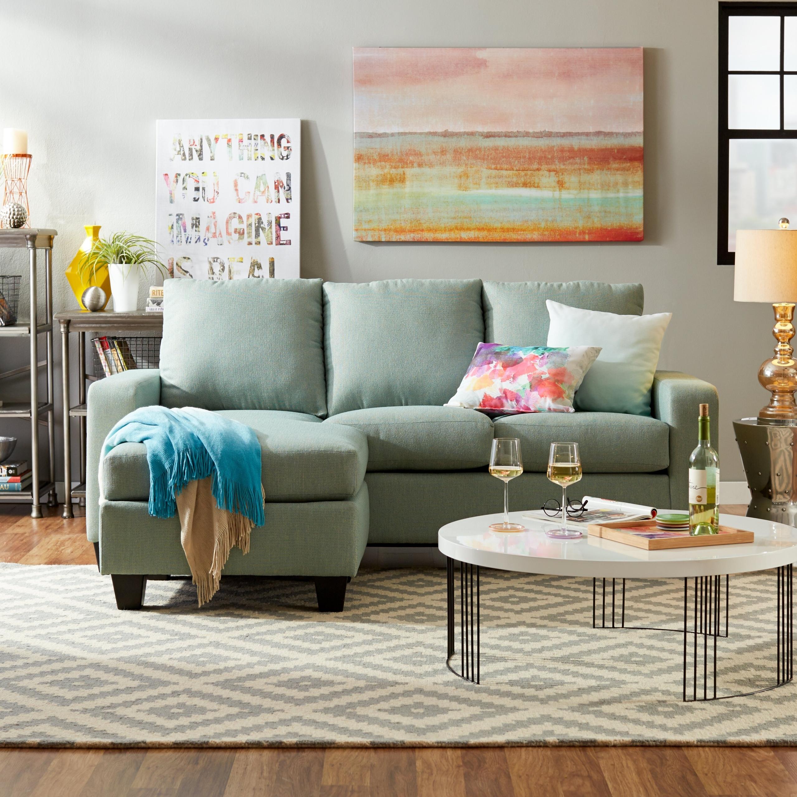 Hardwood Reversible Sectional Sofa With Ottoman