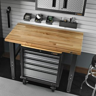 Heavy Duty Adjustable Hardwood Butcher Block Workbench
