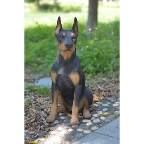 Hi-Line Gift Ltd. Sitting Doberman Pinscher Dog Garden Statue