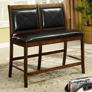 High Dark  Brown  Wood And Leather Bench