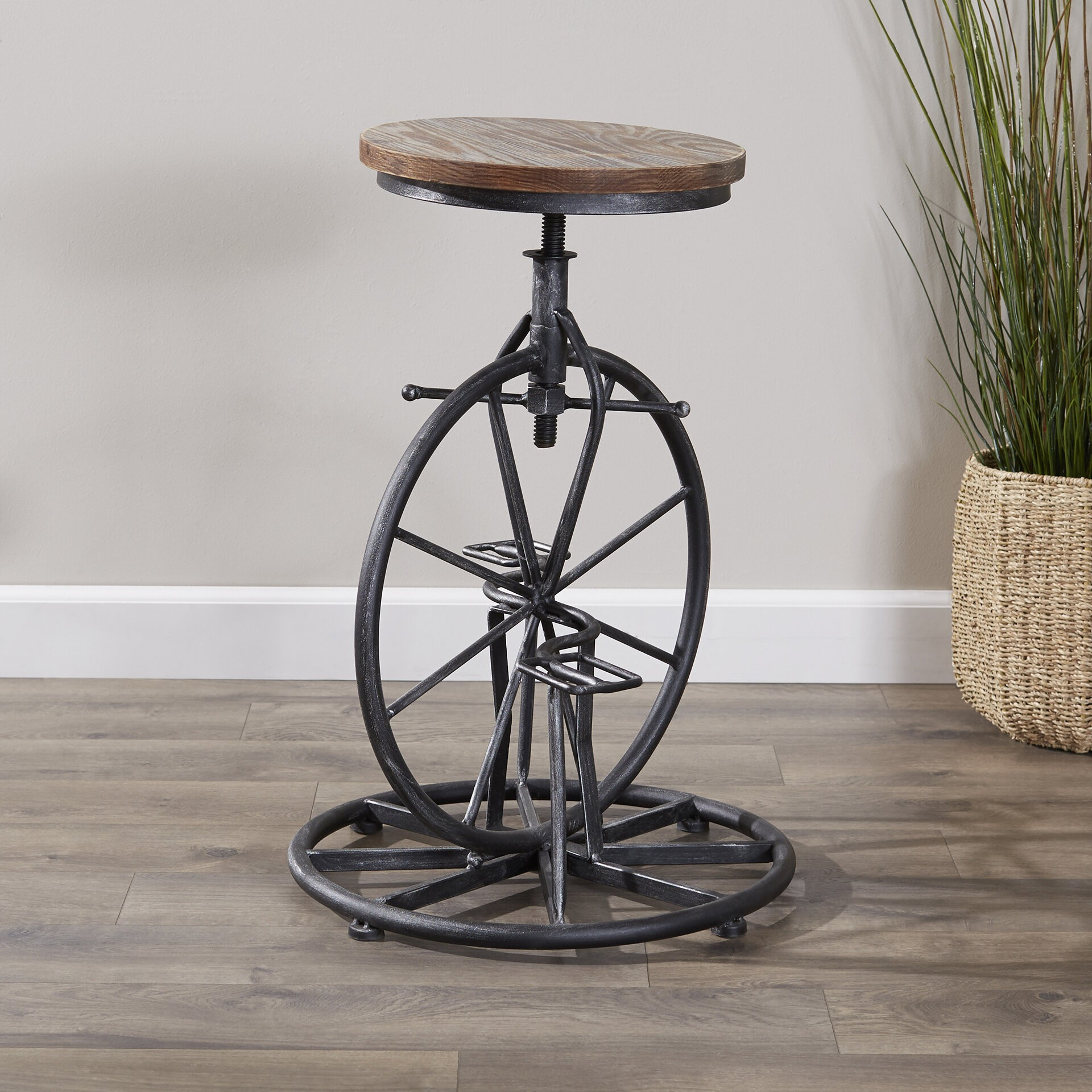 Industrial Metal Adjustable Swivel Barstool