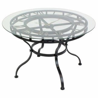 Iron and Glass Coffee Table with Clock