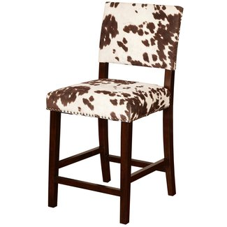 Ivory and Espresso Microfiber Wood Bar Stool