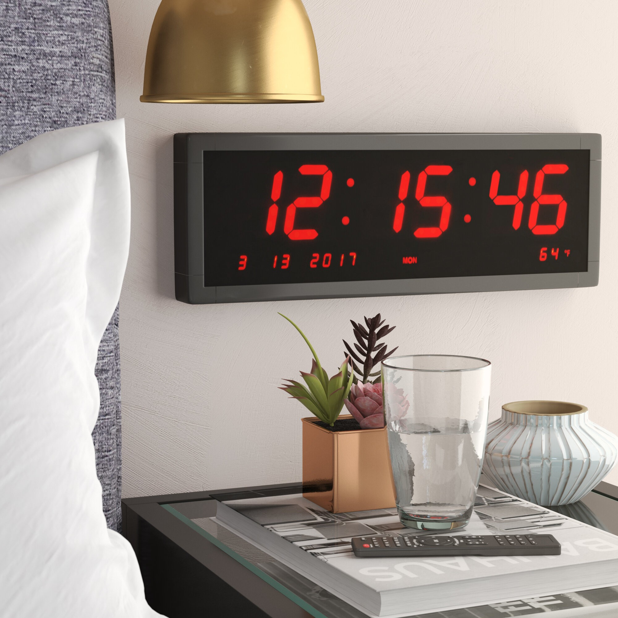 Large Oversized LED Wall Clock Digital Time Bright Digits w// Indoor Temperature