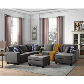 "Laureen 112.2"" Right Hand Facing Sectional with Ottoman"