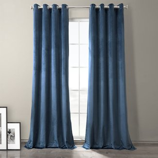 Leitch Solid Blackout Thermal Grommet Single Curtain Panel