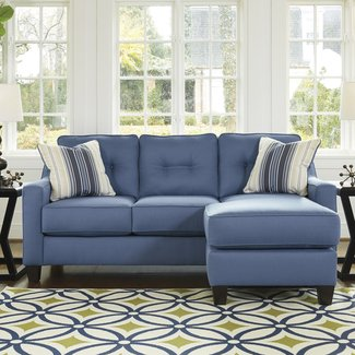 Light Blue Performance Fabric Reversible Sectional