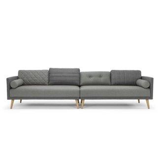 Light Grey Polyester Blend Modern Wood Sofa