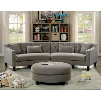 Linen Curved Sectional Sofa