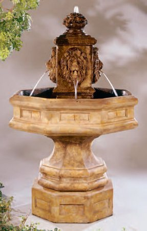 Lion Concrete Classic Waterfall Fountain