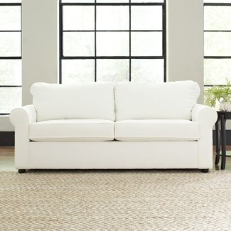 Loveseat Sofa With Rolled Arms And Finished Back