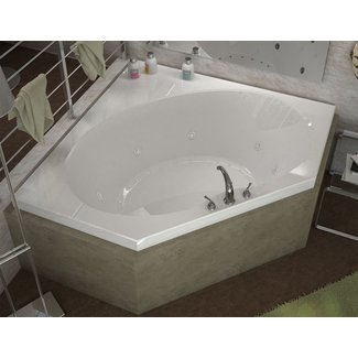 Luxurious Corner Jetted Bathtub with Center Drain