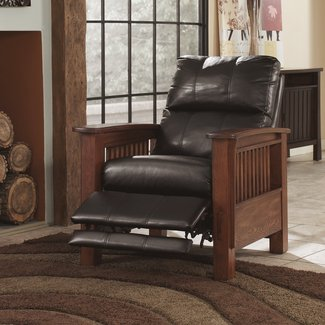 Manual Faux Leather High Leg Recliner