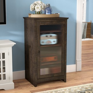 Manufactured Wood Audio Cabinet with Multimedia Storage
