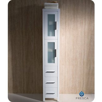 Manufactured Wood Freestanding Tower with Glass Shelves