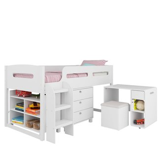 Manufactured Wood Twin Loft Bed With Storage