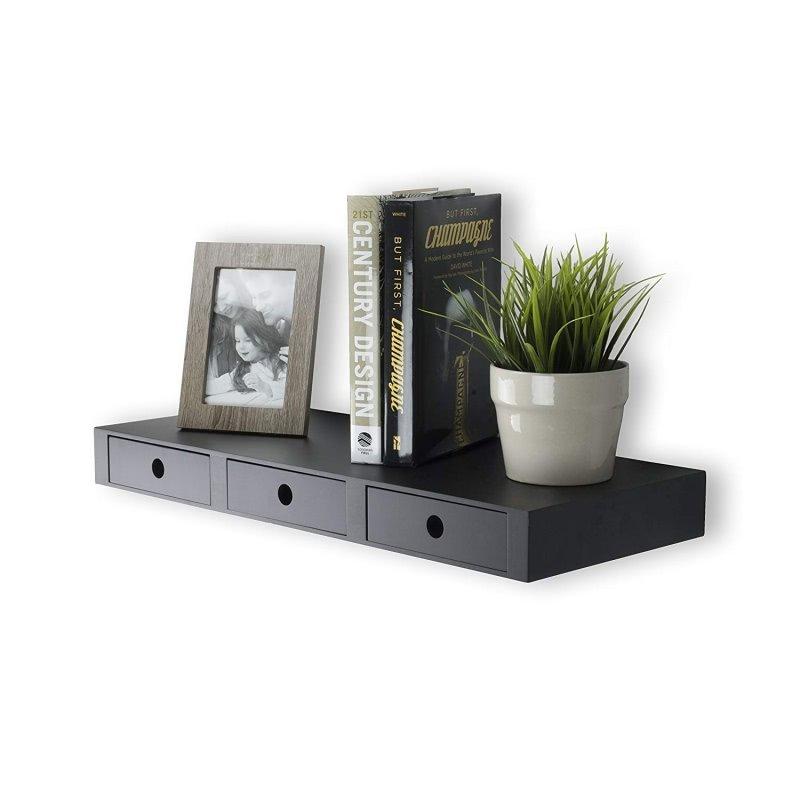 Walnut Zig Zag Corner Wall Shelf Home Decor Display Curio Storage Float Shelves