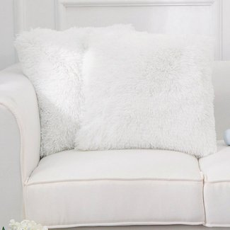 Mashpee Faux Fur Throw Cover and Insert PIllow (Set of 2)