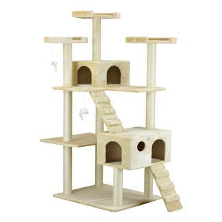 MDF Compact Wood Cat Tree Condo