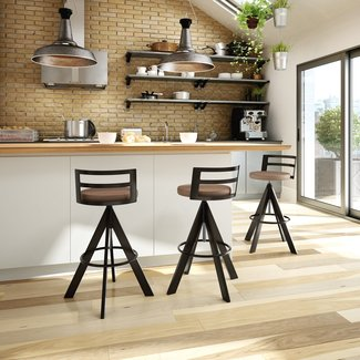 Metal and Faux Leather Adjustable Height Bar Stool