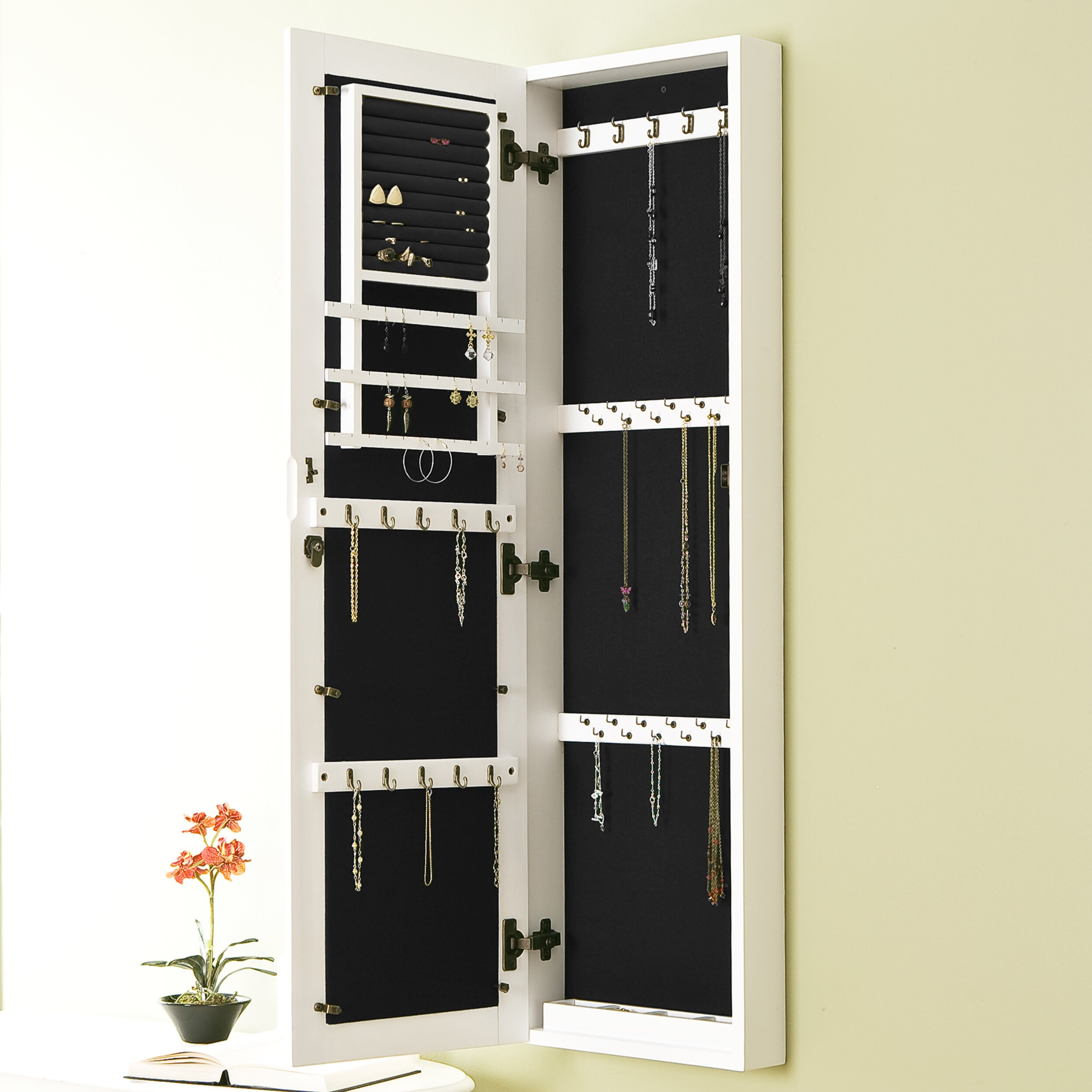 Bon Minimalistic Wall Mounted Jewelry Armoire With Mirror