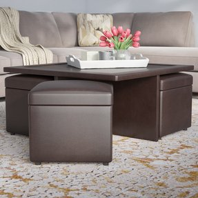 Modern Dark Chocolate Coffee Table With Nested Stools