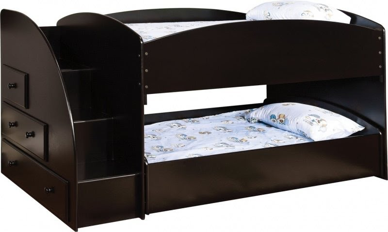 Modern Oak Twin Bunk Bed With Storage