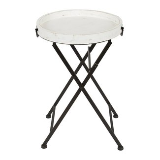 Moisture Resistant Metal And Wood Tray Table