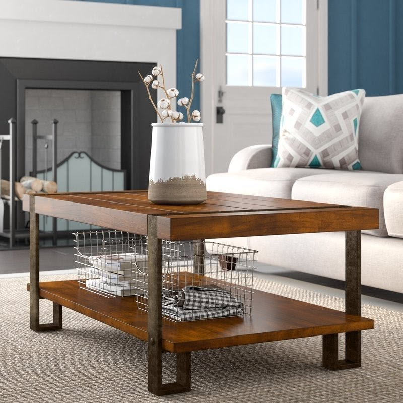 Oiled Bronze Oak Metal Coffee Table
