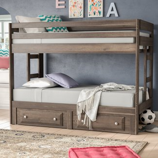 Pine Wood Amber Twin Over Twin Bunk Bed