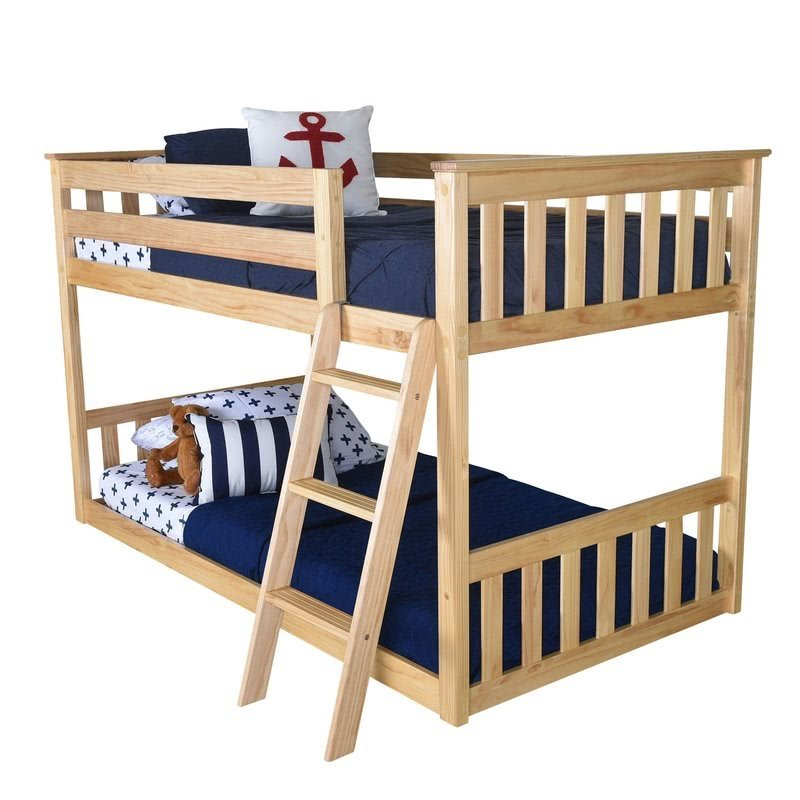 Pine Wood Twin Low Loft Bunk Bed