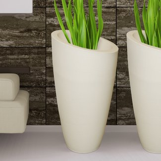 Plastic Pot Planter with Textured Finish