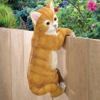 Polyresin and Stone Climbing Cat Statue