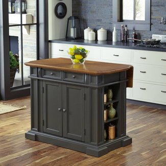 Rectangular Gray Oak Top Wood Kitchen Island