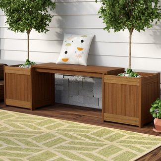 Rectangular Meranti Wood Planter Bench